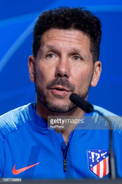 Atletico de Madrid coach Diego Pablo Simeone during press conference the day before UEFA Champions League match between Atletico de Madrid and...