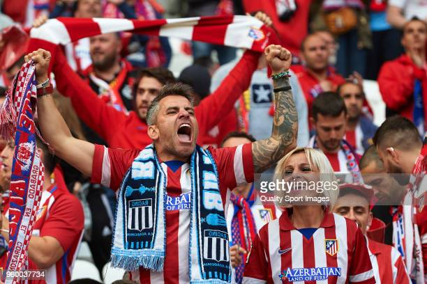 Atletico de Madrid fans show their support during the UEFA Europa League Final between Olympique de Marseille and Club Atletico de Madrid at Stade de...