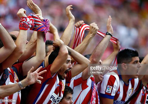 Atletico de Madrid fans show their support prior to the UEFA Champions League Final match between Real Madrid and Club Atletico de Madrid at Stadio...