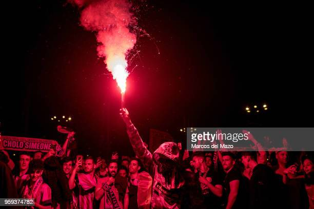 Atletico de Madrid fans with flares celebrating UEFA Europa League title after winning the final match against Olympique de Marseille by 3 0
