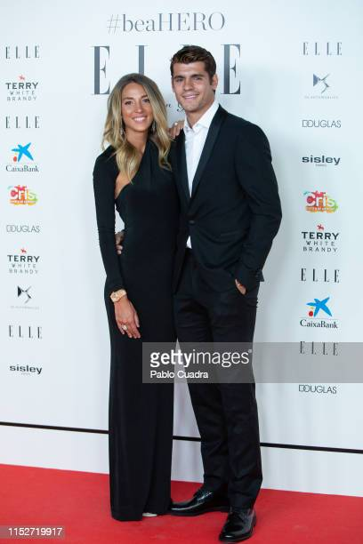 Atletico de Madrid football player Alvaro Morata and Alice Campello attend ELLE Charity Gala 2019 to raise funds for cancer at Intercontinental Hotel...