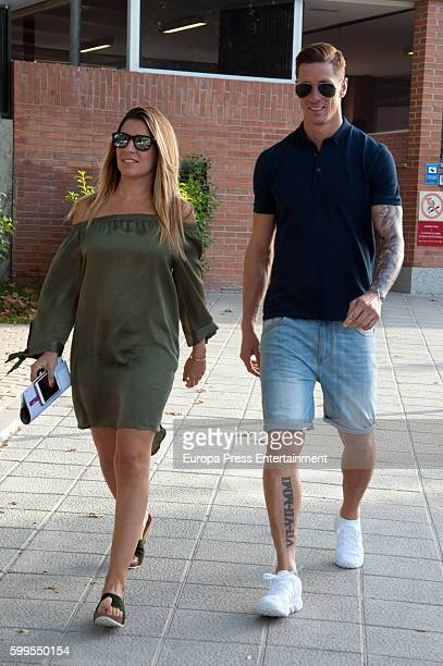 Atletico de Madrid football player Fernando Torres and his wife Olalla Dominguez are seen on September 6 2016 in Madrid Spain