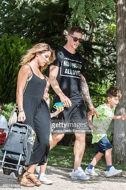 Atletico de Madrid football player Fernando Torres his wife Olalla Dominguez and their son Leon Torres are seen on September 7 2016 in Madrid Spain