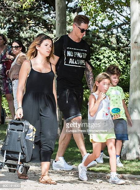 Atletico de Madrid football player Fernando Torres his wife Olalla Dominguez their daughter Nora Torres and their son Leon Torres are seen on...