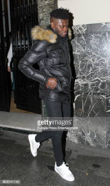 Atletico de Madrid football player Thomas Partey is seen leaving a restaurant on January 9 2018 in Madrid Spain