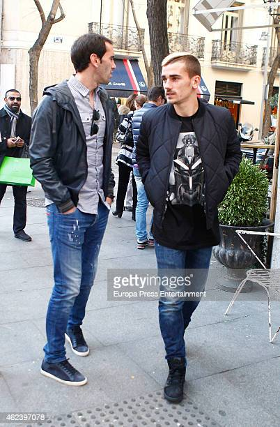 Atletico de Madrid football players Antoine Griezmann and Diego Godin are seen on January 27 2015 in Madrid Spain