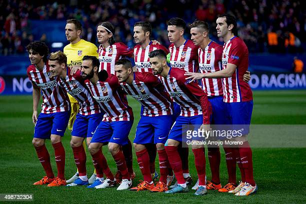 Atletico de Madrid line up prior to start the UEFA Champions League Group C match between Club Atletico de Madrid and Galatasaray AS at Estadio...