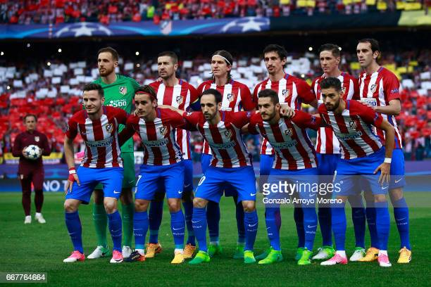 Atletico de Madrid line up prior to start the UEFA Champions League Quarter Final first leg match between Club Atletico de Madrid and Leicester City...