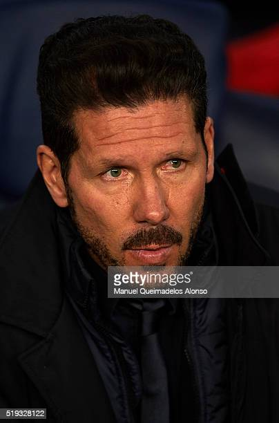 Atletico de Madrid manager Diego Pablo Simeone looks on prior the UEFA Champions League Quarter Final first leg match between FC Barcelona and...