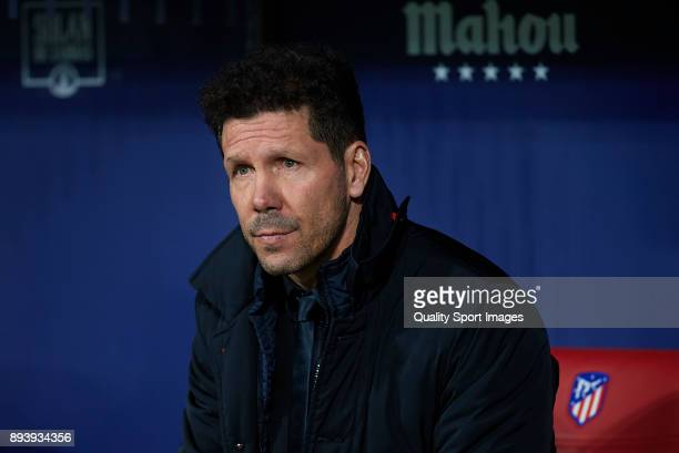 Atletico de Madrid manager Diego Pablo Simeone looks on prior to the La Liga match between Atletico Madrid and Deportivo Alaves at Estadio Wanda...