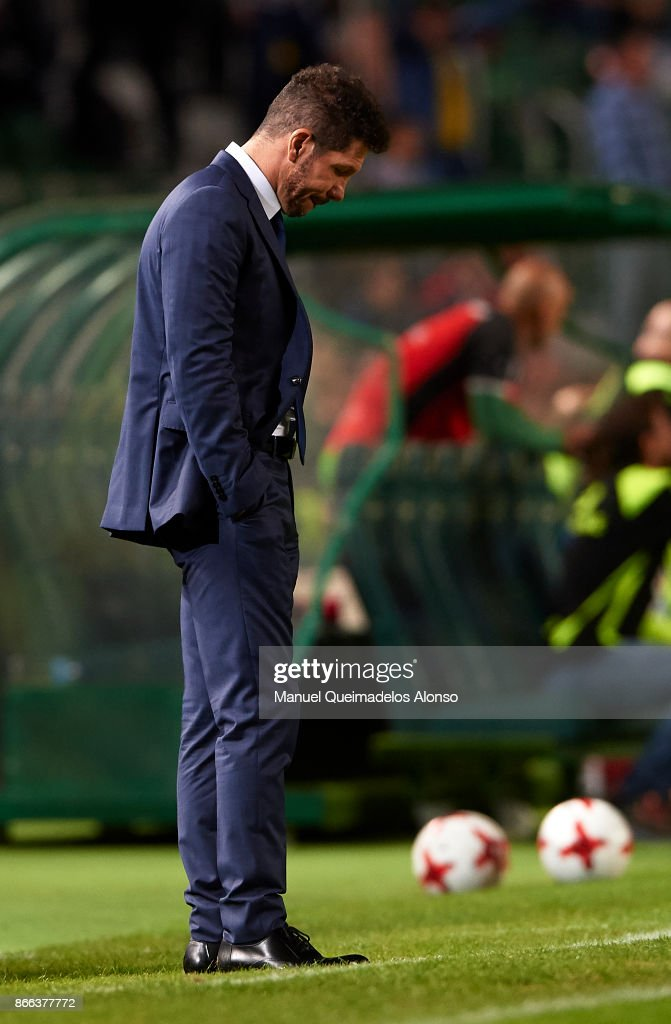 Atletico de Madrid manager Diego Pablo Simeone reacts during the Copa del Rey first leg match between Elche CF and Atletico de Madrid at Estadio Martinez Valero on October 25, 2017 in Elche, Spain.