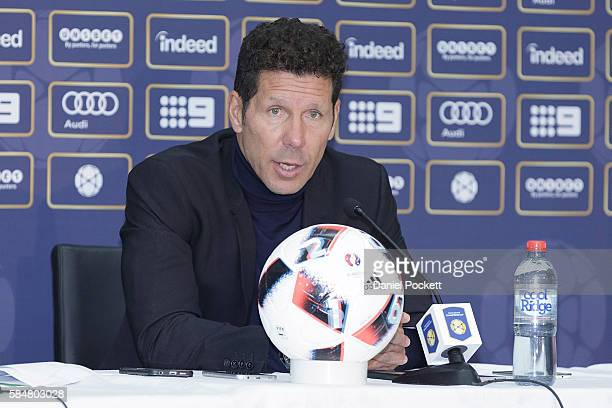 Atletico de Madrid manager Diego Simeone speaks during the press conference after the 2016 International Champions Cup Australia match between...