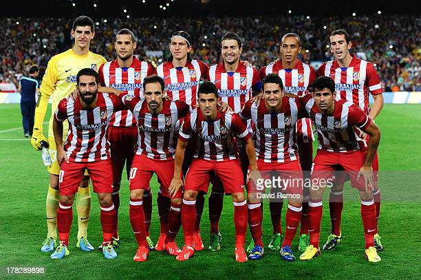 Atletico de Madrid players pose for the official photo prior to the Spanish Super Cup second leg match between FC Barcelona and Atletico de Madrid at...