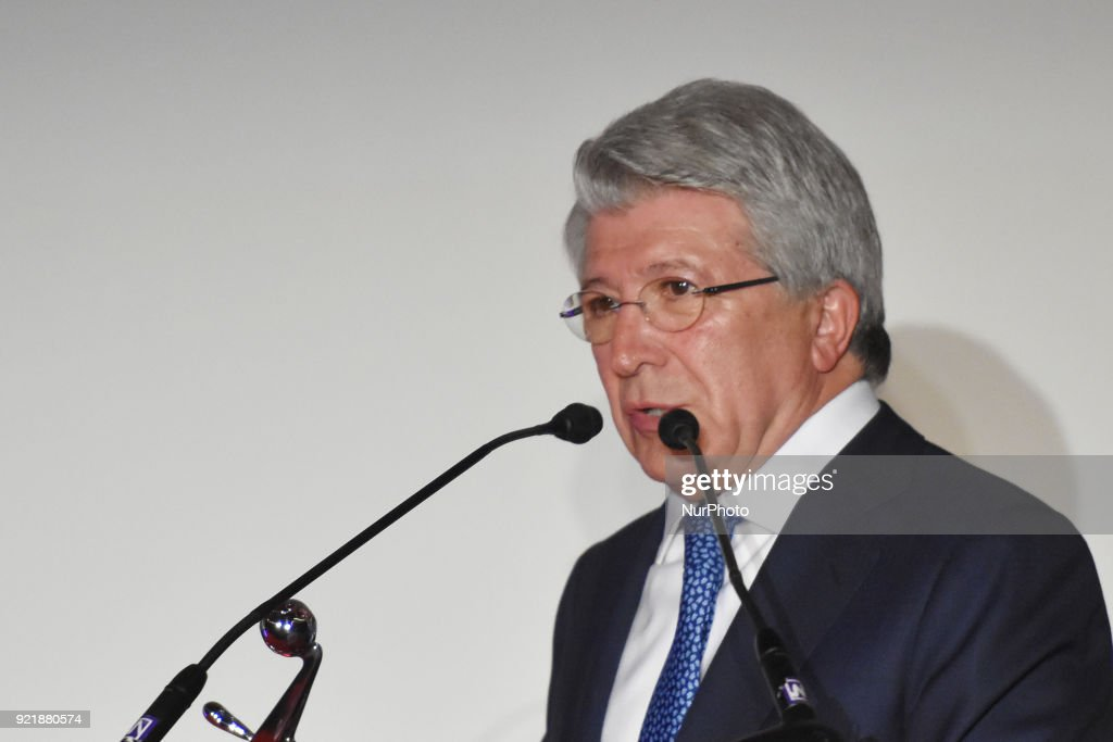 Atletico de Madrid president Enrique Cerezo is seen during the press conference to promote 5th Platinum Awards of Ibero-American Cinema, the event will be held on April 29 in Rivera Maya. at Cineteca Nacional on February 20, 2018 in Mexico City, Mexico