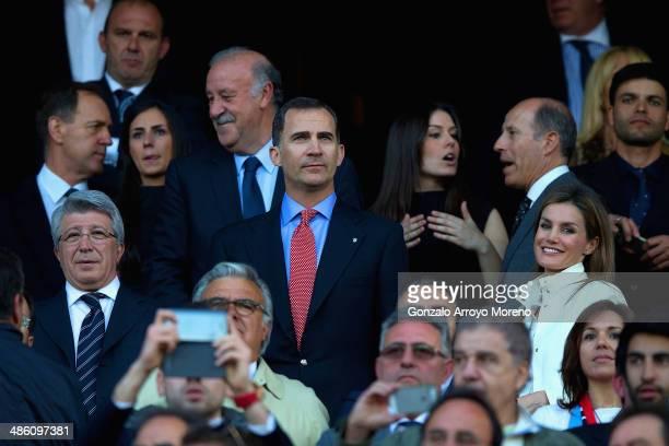 Atletico de Madrid presidente Enrique Cerezo Spain head coach Vicente del Bosque Prince Felipe of Spain and Princess Letizia of Spain look on during...