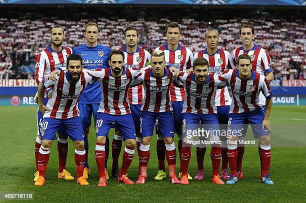 Atletico de Madrid team line up before the UEFA Champions League Quarter Final first leg match between Club Atletico de Madrid and Real Madrid CF at...