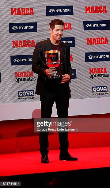 Atletico de Madrid's coach Diego Pablo Simeone aka 'El Cholo' receives the Award Miguel Munoz during the MARCA Football Award 20152016 at Florida...