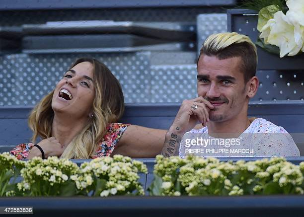 Atletico de Madrid's French forward Antoine Griezmann attends the match between Bulgarian tennis player Grigor Dimitrov and Spanish tennis player...