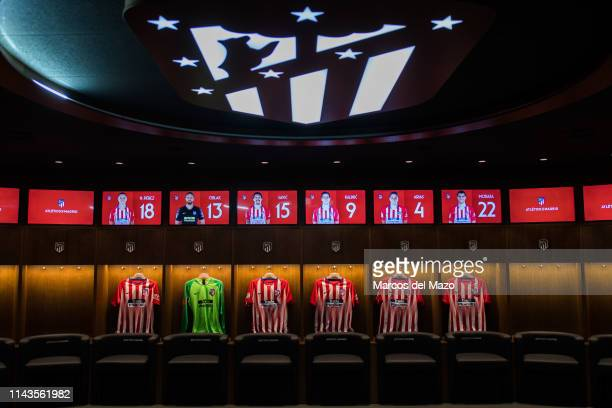 Atletico de Madrid's lockers room in Wanda Metropolitano stadium during an open doors media day ahead of the 2019 UEFA Champions League Final The...