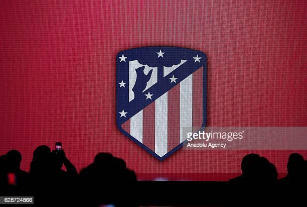 Atletico de Madrid's new emblem is displayed during the presentation of their new stadium name Wanda Metropolitano during a press conference at the...