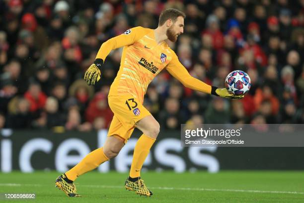 Atletico goalkeeper Jan Oblak during the UEFA Champions League round of 16 second leg match between Liverpool FC and Atletico Madrid at Anfield on...