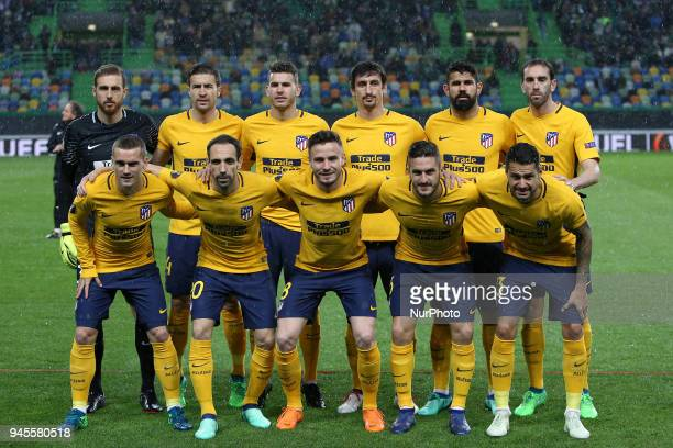 Atletico Madri Team's lineup during the UEFA Europa League second leg football match Sporting CP vs Atletico Madrid at Alvalade stadium in Lisbon on...