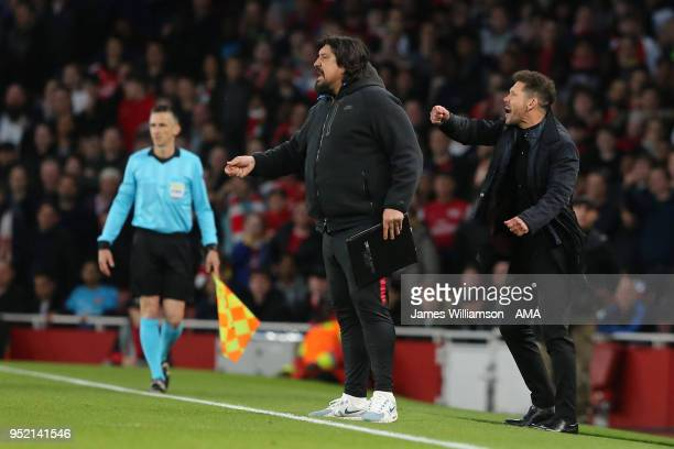 Atletico Madrid assistant manager Germán Burgos and manager Diego Simeone Atletico Madrid manager Diego Simeone during the UEFA Europa League Semi...