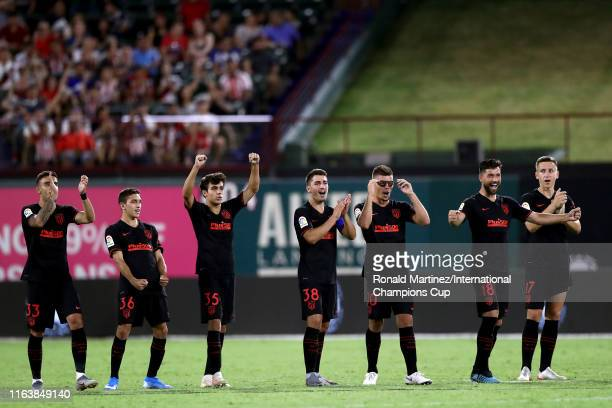 Atletico Madrid celebrates their penalty shootout win over Guadalajara during their 2019 International Champions Cup match at Globe Life Park in...