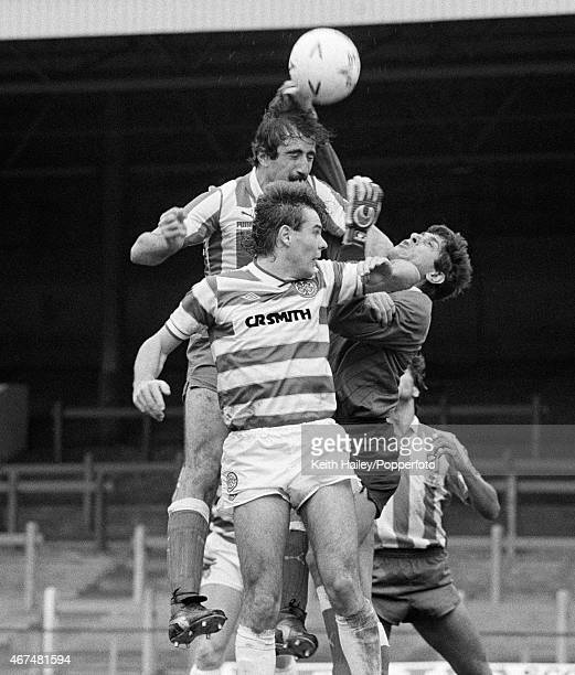Atletico Madrid defender Juan Arteche and goalkeeper Ubaldo Fillol combine to clear the ball from Celtic striker Brian McClair during the European...
