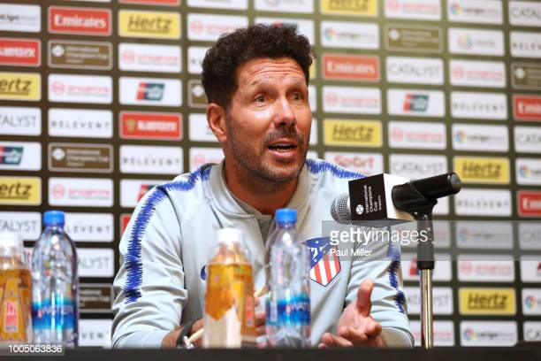 Atletico Madrid Diego Simeone attends a press conference ahead of the International Champions Cup 2018 match between Club Atletico de Madrid and...