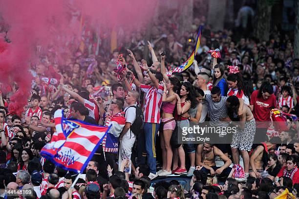 Atletico Madrid fans celebrate a day after they won the Europa League Final on May 10 2012 in Madrid Spain Atletico beat Athletic Bilbao 30 in the...