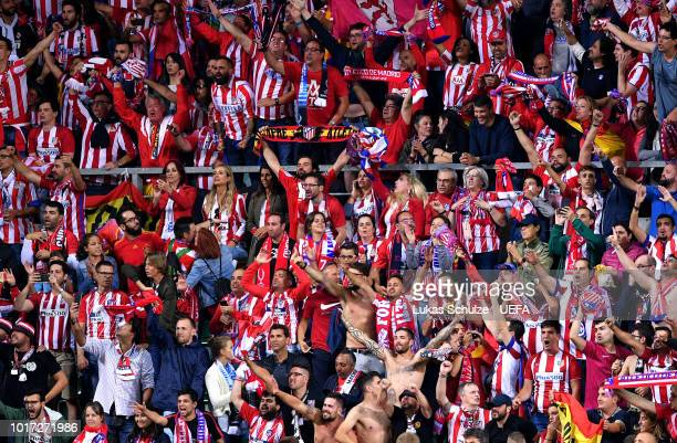Atletico Madrid fans celebrate during the UEFA Super Cup between Real Madrid and Atletico Madrid at Lillekula Stadium on August 15 2018 in Tallinn...