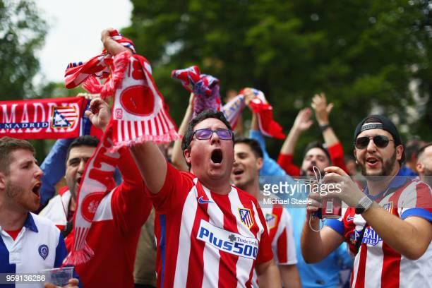 Atletico Madrid fans enjoy the atmosphere in the city centre prior to the UEFA Europa League Final between Olympique de Marseille and Club Atletico...