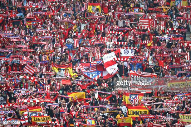 Atletico Madrid fans enjoy the pre match atmosphere ahead of the UEFA Europa League Final between Olympique de Marseille and Club Atletico de Madrid...