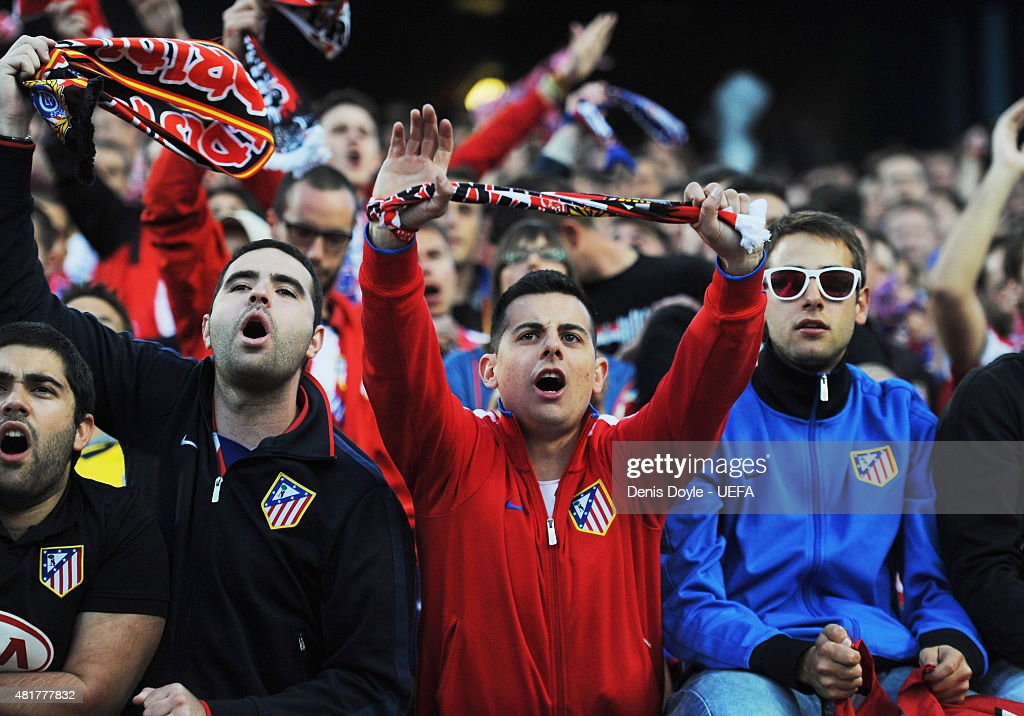 Atletico Madrid fans show their support prior to the UEFA Champions League Semi Final first leg match between Club Atletico de Madrid and Chelsea at Vicente Calderon Stadium on April 22, 2014 in Madrid, Spain.