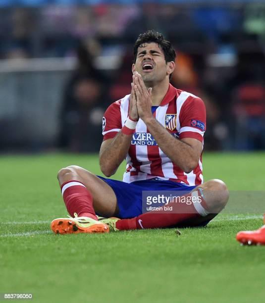 FUSSBALL CHAMPIONS Atletico Madrid FC Chelsea Diego Costa enttaeuscht ist nach seiner vergebenen Torchance enttaeuscht