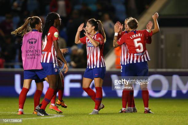 Atletico Madrid Femenino team celebrate at the full time whistle during the Womens UEFA Champions League 2nd Leg match between Manchester City Women...