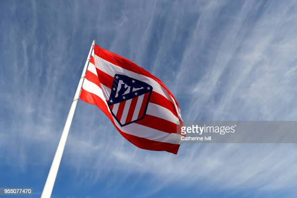 Atletico Madrid flag prior to the UEFA Europa League Semi Final second leg match between Atletico Madrid and Arsenal FC at Estadio Wanda...