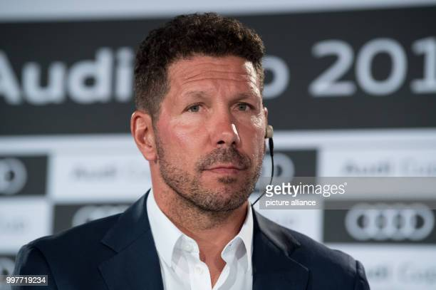 Atletico Madrid head coach Diego Simeone taking part in a press conference in MunichGermany 31 July 2017 FCBayern Munich FCLiverpool Atletico...