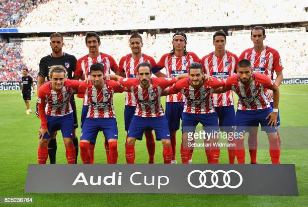Atletico Madrid line up during the Audi Cup 2017 match between Club Atletico de Madrid and SSC Napoli at Allianz Arena on August 1 2017 in Munich...