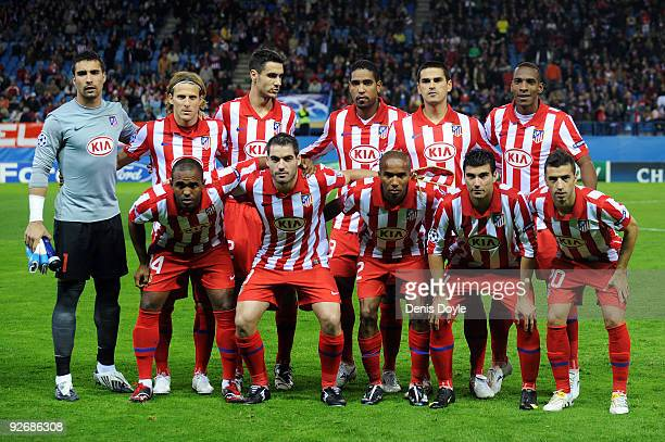 Atletico Madrid line up prior to the Champions League Group D match between Atletico Madrid and Chelsea at the Vicente Calderon Stadium on November 3...