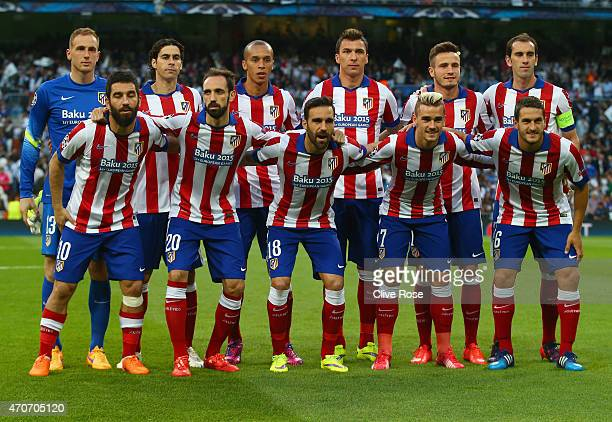 Atletico Madrid line up prior to the UEFA Champions League quarterfinal second leg match between Real Madrid CF and Club Atletico de Madrid at...