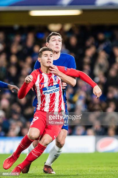Atletico Madrid Lucas Hernández Chelsea Andreas Christensen during the UEFA Champions League group C match between Chelsea FC and Atletico Madrid at...