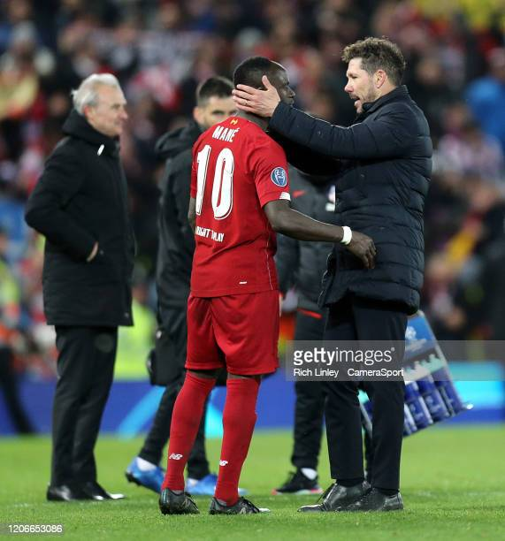 Atletico Madrid manager Diego Simeone consoles Liverpool's Sadio Mane after the UEFA Champions League round of 16 second leg match between Liverpool...