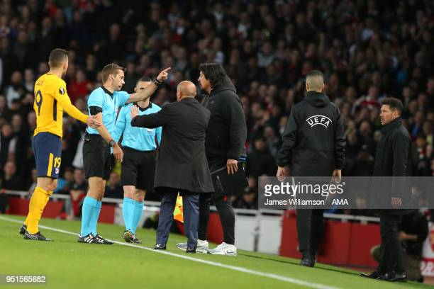 Atletico Madrid manager Diego Simeone is sent from the technical area by match referee Clement Turpin during the UEFA Europa League Semi Final leg...