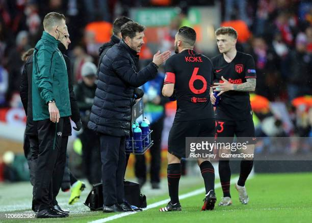 Atletico Madrid manager Diego Simeone issues instructions to Koke during the UEFA Champions League round of 16 second leg match between Liverpool FC...