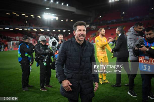 Atletico Madrid manager Diego Simeone looks on after the UEFA Champions League round of 16 second leg match between Liverpool FC and Atletico Madrid...