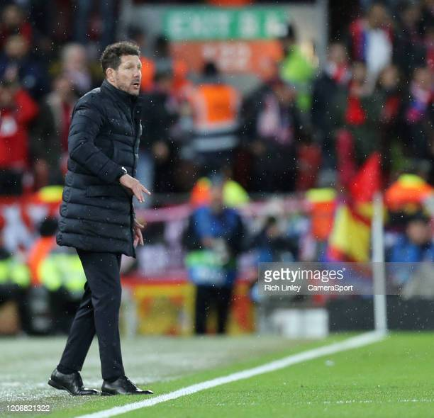 Atletico Madrid manager Diego Simeone looks on during the UEFA Champions League round of 16 second leg match between Liverpool FC and Atletico Madrid...