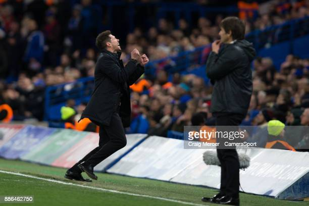 Atletico Madrid manager Diego Simeone reacts during the UEFA Champions League group C match between Chelsea FC and Atletico Madrid at Stamford Bridge...