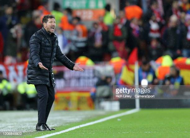 Atletico Madrid manager Diego Simeone shouts instructions to his team from the technical area during the UEFA Champions League round of 16 second leg...